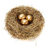 Three golden eggs in hay nest Stock Photos