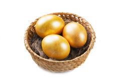 Three golden eggs Royalty Free Stock Images