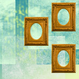 Three golden frames on a geometric texture. Abstract and geometric background with three antique golden frames stock illustration