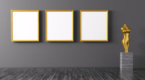 Three golden frames and statuette interior background 3d renderi Stock Photography