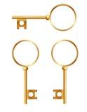 Three golden keys against white background Stock Images