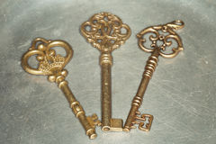 Three golden keys on iron plate Royalty Free Stock Images