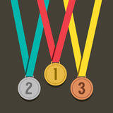 Three Golden Medals With Number Stock Photography