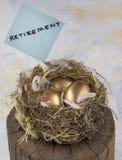 Three golden nest eggs. For retirement Royalty Free Stock Images