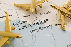 Three Golden Planes Over California Stock Images