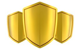 Three golden shields Royalty Free Stock Images