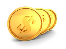Three Golden Shiny Dollar Currency Coins. 3d Render Illustration Royalty Free Stock Photos