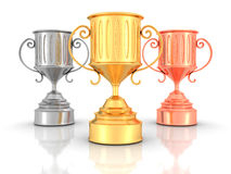 Three Golden, Silver, Bronze Winners Trophy Cups On White Backgr Stock Images