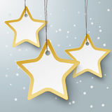 Three Golden Star Price Stickers PiAd. Golden star shopping mark on the grey background. Eps 10 file royalty free illustration