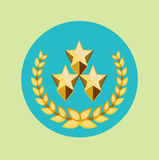 Three golden stars and golden grains crown icon Royalty Free Stock Photography