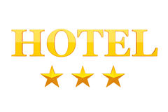 Three Golden Stars Hotel Sign. 3d Rendering Royalty Free Stock Image