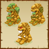 Three Golden statues of a lion dirty and cleaned Royalty Free Stock Photo