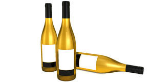 Three Golden wine bottles. With black caps and labels Stock Photo
