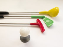 Three Golf clubs - Wood, Putter, iron and a ball Stock Photo