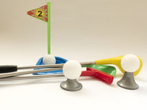 Three Golf clubs - Wood, Putter, iron and balls royalty free stock photos