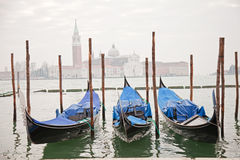Three gondolas in Venice Stock Photography