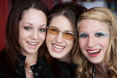 Three Good Friends. Three happy Caucasian teenaged girlfriends with big smiles Royalty Free Stock Images