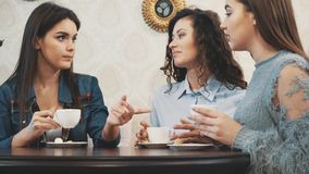 Three good young girlfriends met in a cafe. During this drink simultaneously cappuccino. Have long black hair. Three good young girlfriends met in a cafe stock video footage