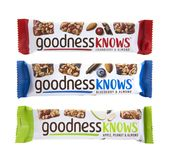 Three Goodness Knows Snack Bars Stock Image