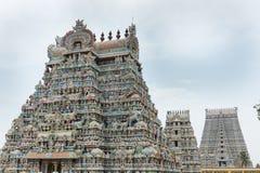 Three Gopurams in a row at Shirangam. Royalty Free Stock Photo