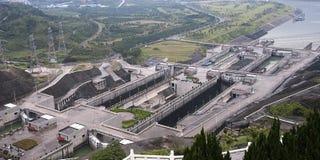 Three- Gorge Damlieferungs-Verriegelungen, Reise Yangtze-China stockfoto