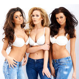 Three gorgeous sexy young women Royalty Free Stock Images