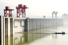 Three Gorges Dam. In Yangtze river in China.This picture shows the entrance and exit gangway for boat to go through the ,every boat need 3-4 hours to up or down Royalty Free Stock Photography