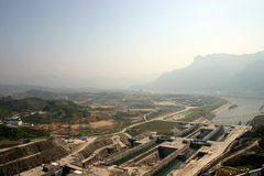 THREE GORGES DAM. In the construction Stock Photography