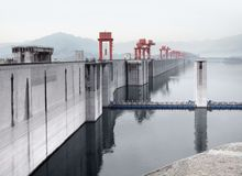 Three Gorges Dam in China stock photography