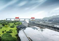 Three Gorges Dam, China. China Yangtze River Three Gorges Dam in the rain stock images