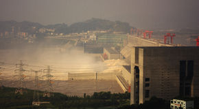 Three Gorges Dam. Photoing the dam from a distance Royalty Free Stock Photo
