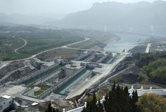 Three Gorges Dam at Yangtze River Stock Photo