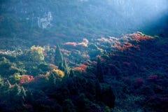 Three Gorges della gola della valle del fiume Yangtze un il mazzo di sole Fotografia Stock Libera da Diritti