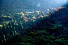 Three Gorges della gola della valle del fiume Yangtze un il mazzo di sole Fotografie Stock Libere da Diritti
