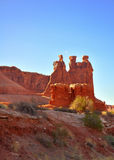 Three Gossips. The human like rocks in Arches National Park in Utah Stock Images
