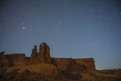 The Three Gossips Arches National Park at Night Royalty Free Stock Photos
