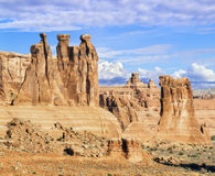 Three Gossips and Sheep Rock at Arches Royalty Free Stock Photo