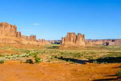 Three Gossips Sheep Rock and  Tower of Babel  in the Arch Nation. Al Park Utah Stock Photos