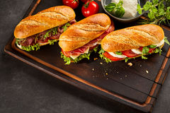 Three gourmet fast food sandwiches Stock Image
