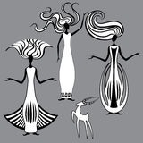 Three graceful women and a goat. Vector illustration Royalty Free Stock Images