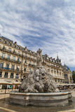 The three graces fountain at Place de la Comedie Stock Photo