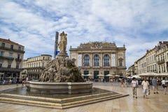 The three graces fountain at Place de la Comedie Stock Photo