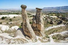 Three Graces rock formation near Urgup in Cappadocia,. Nevsehir,turkey Royalty Free Stock Image