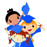 Three graduation Kids Stock Photo