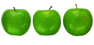 Three Granny Smith apples. Three green Granny Smith apples isolated over white Royalty Free Stock Image