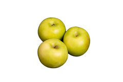Three Granny Smith Apples on White Background Royalty Free Stock Photography