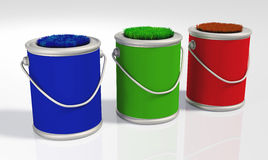 Three grassy colored  pots Stock Image