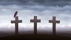 Three graves and a raven Stock Images