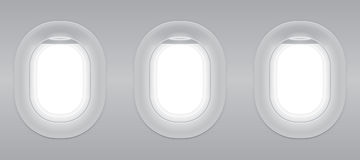Three gray blank window plane. Three gray blank window plane, gray airplane window, gray light template, plain aircraft window white space Royalty Free Stock Image