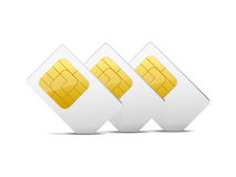 Three gray white sim cards Stock Photography